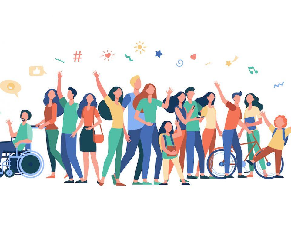 Imagem traz ilustração bastante colorida em fundo branco, ilustrando o conceito de multiculturalidade, com pessoas de diversas etnias e com deficiência (Crédito: Freepik.com)