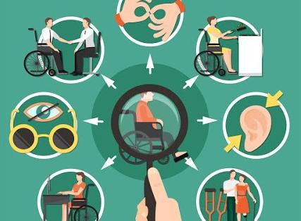 Ilustração em fundo verde traz diagrama com lente destacando cadeirante ao centro e, em volta, imagens e cenas que revelam outras deficiências e situações de inclusão. (Crédito: Freepik.com)