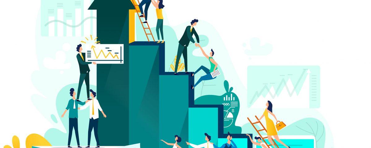Para cego ver: ilustração em tons de verde e detalhe em amarelo mostra equipe colaborando para alcançar os degraus mais altos de uma escada