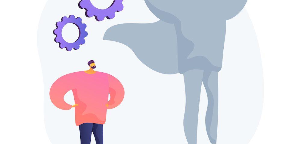 [para cego ver] Ilustração abstrata mostra a representação de um indivíduo se deparando com sua sombra desenhada como a de um super-herói. Engrenagens compõem a imagem, dando a ideia de reflexão e trabalho.