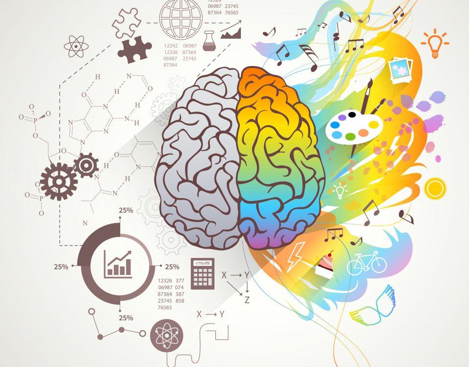 [Para cego ver] Ilustração representa lados esquerdo e direito do cérebro, mostrando o lado inclinado ao pensamento lógico em preto e branco e o lado ligado às artes e emoções em multicores