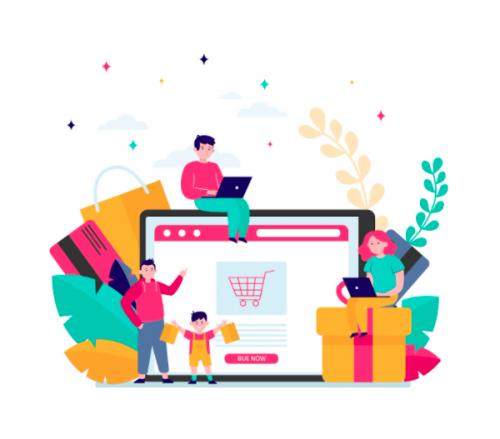 [Para cego ver] Imagem traz montagem em cores neon com figuras humanas e elementos relacionados a compras ao redor de uma tela de computador mostrando um site de e-commerce