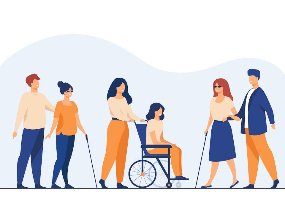 [Para cego ver] Ilustração traz interações entre pessoas com e sem deficiência, aos pares, incluindo duas pessoas cegas e uma cadeirante. A imagem está em tons de azul e amarelo, predominantemente.