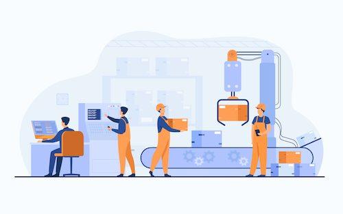 [Pra cego ver] – Ilustração em tons de azul e laranja mostra trabalho mecanizado em fábrica e figuras humanas interagindo com o sistema industrial.
