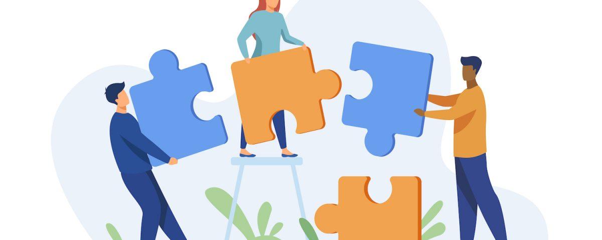 [Pra cego ver] Ilustração traz figuras humanas encaixando peças de um quebra-cabeças. Predominam tons de azul e amarelo.