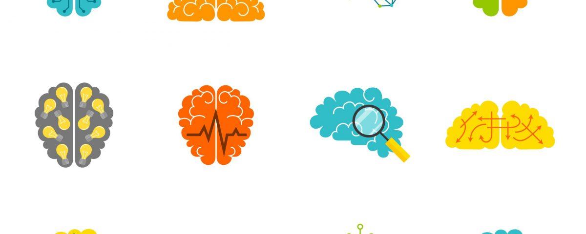 [Pra cego ver] ilustrações multicoloridas representam cérebros humanos em suas diversas atividades
